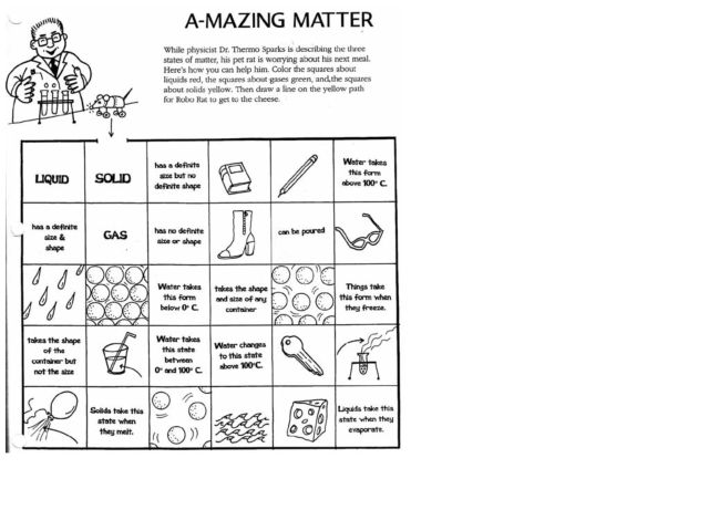4th grade science worksheets on matter