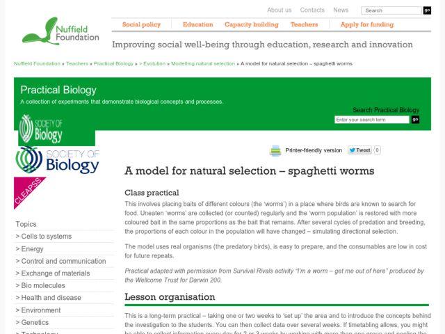 Natural Modeling a Model For Natural Selection