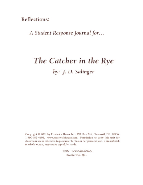Printables Catcher In The Rye Worksheets a student response journal for the catcher in rye 11th 12th grade worksheet lesson planet