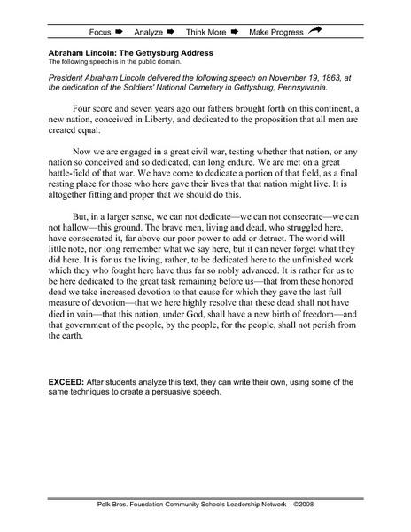 Printables Gettysburg Address Worksheet Happywheelsfreak