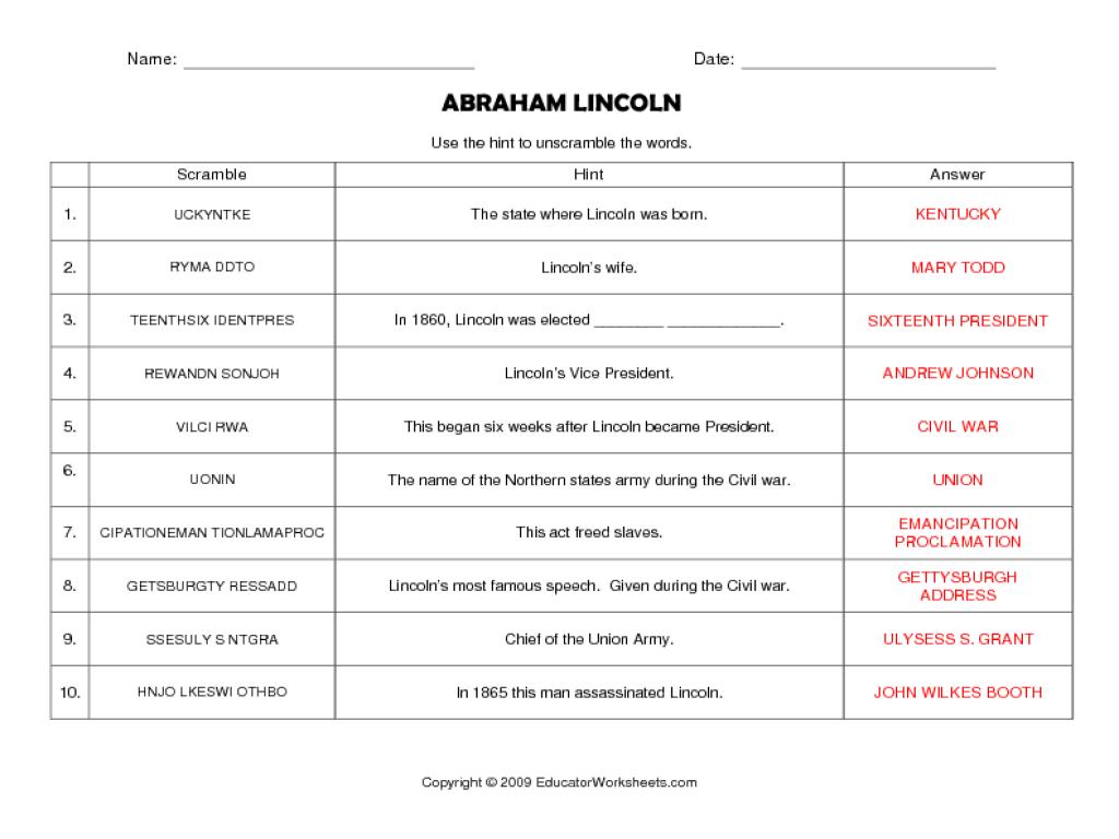 Abraham Lincoln Worksheets Worksheets for Education – Abraham Lincoln Worksheets
