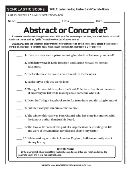 Concrete Abstract Nouns Worksheet - Secretlinkbuilding