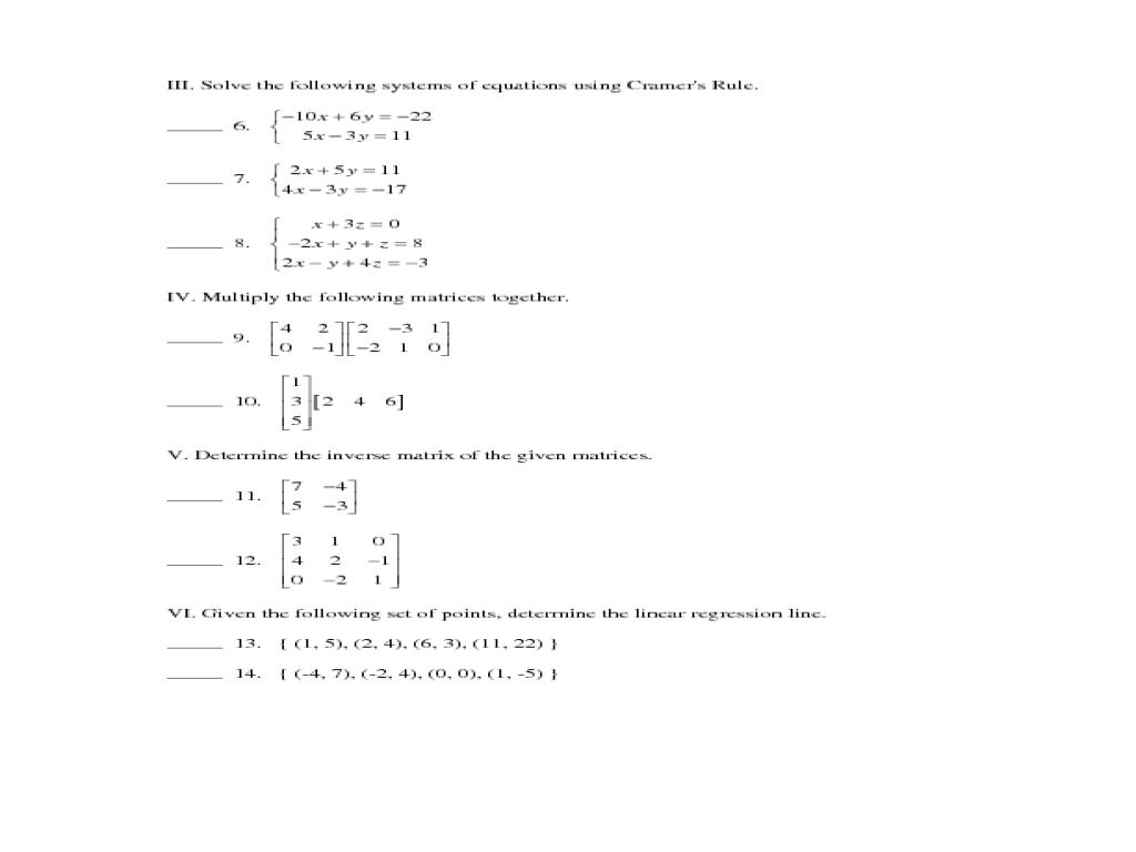 - Algebra 2 Math Worksheets & College Math Worksheets College Prep