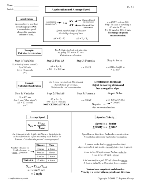 Printables Speed Velocity And Acceleration Worksheet Answers velocity and acceleration calculation worksheet answers davezan laveyla com