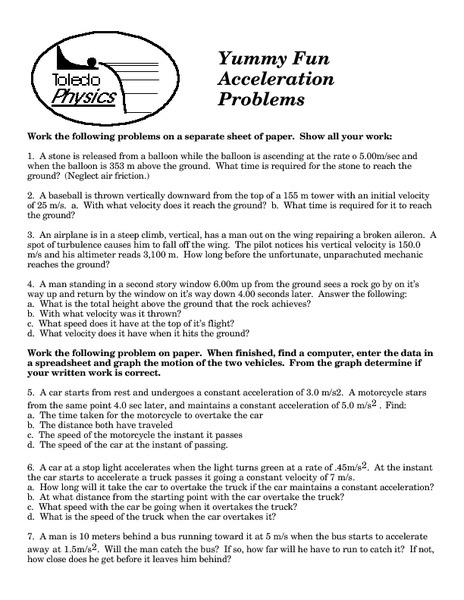 Acceleration Problems Higher Ed Worksheet | Lesson Planet