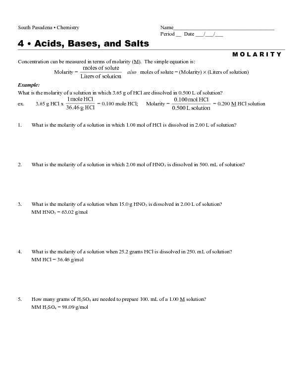 Acids And Bases Worksheet Free Worksheets Library | Download and ...
