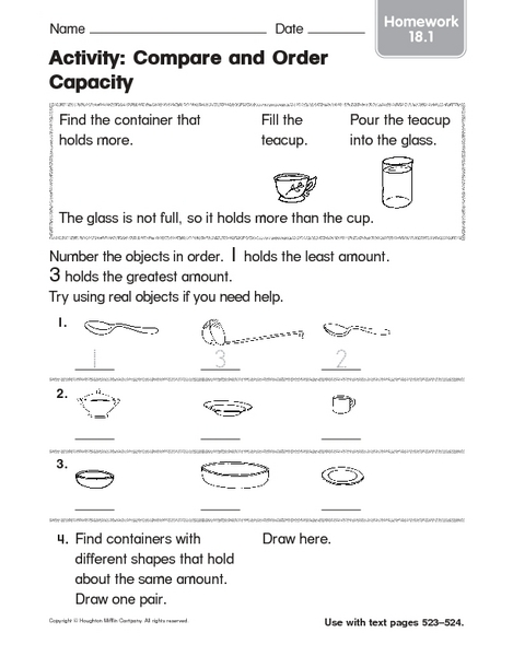 Activity: Compare and Order Capacity Kindergarten - 1st Grade ...