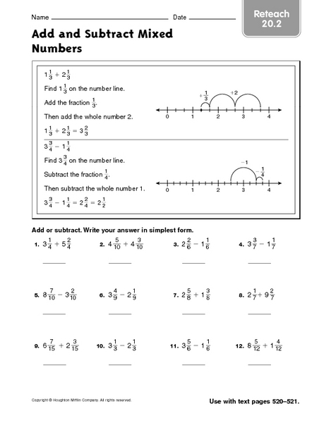 math worksheet : add and subtract mixed numbers  reteach 20 2 4th  6th grade  : Subtracting Mixed Numbers With Renaming Worksheet