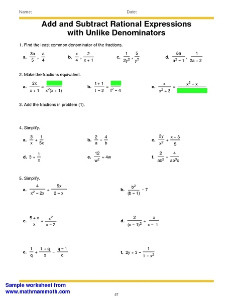 Add and Subtract Rational Expressions With Unlike Denominators 6th ...