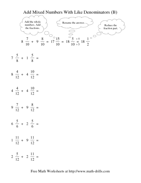 Printables Adding Mixed Numbers With Like Denominators Worksheets adding mixed numbers with unlike denominators worksheets scalien add like b 5th 6th grade