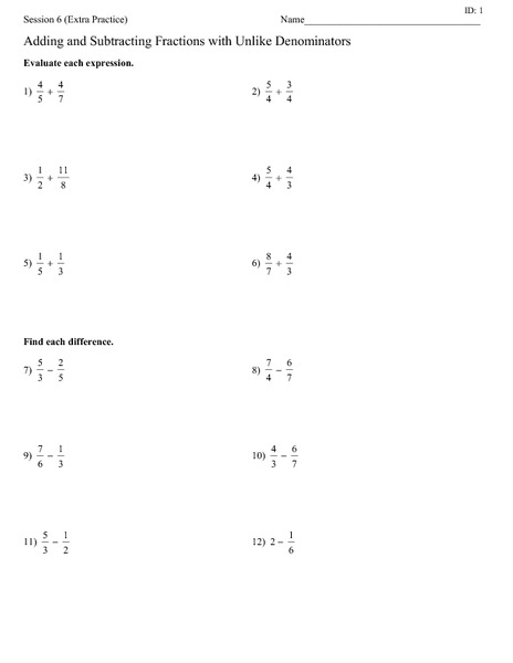Adding and subtracting fractions with unlike denominators worksheet answers