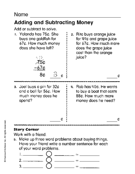 Adding And Subtracting Money Worksheets Rd Grade  Counting Money