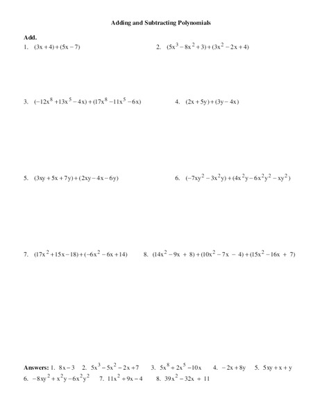 Printables Adding And Subtracting Polynomials Worksheet adding and subtracting polynomials 8th 9th grade worksheet lesson planet