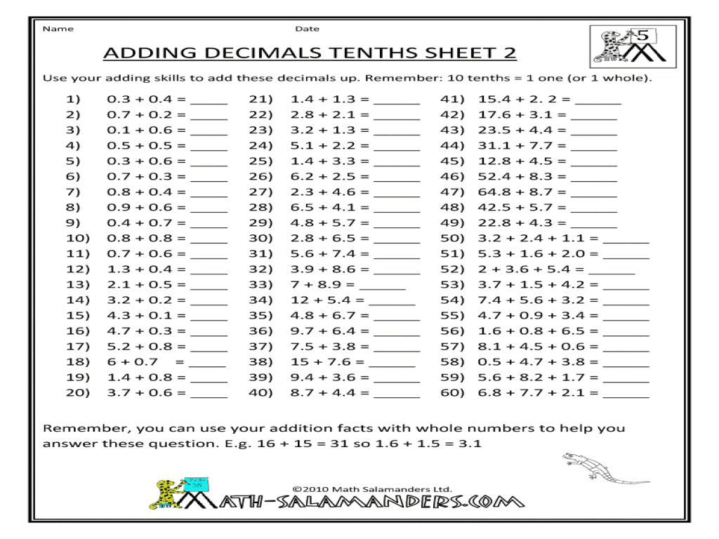 Adding Decimals Tenths 4th 5th Grade Worksheet – Add Decimals Worksheet