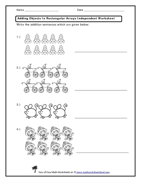 math worksheet : adding objects in rectangular arrays independent worksheet 1st  : Repeated Addition Worksheets 3rd Grade
