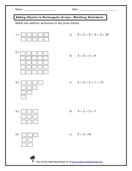 Free 2nd grade worksheets on arrays