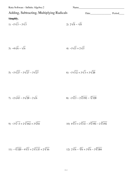 Simplifying Radical Expressions Worksheet With Answers Free ...