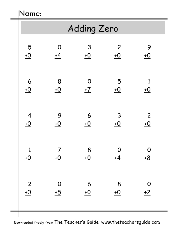 Zero Property Of Addition Worksheets  Similiar Addition Property