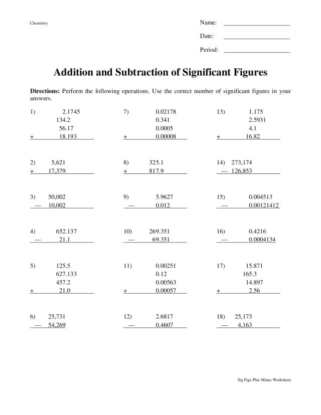 Printables Significant Figures Worksheet significant figures worksheet imperialdesignstudio and subtraction of worksheet