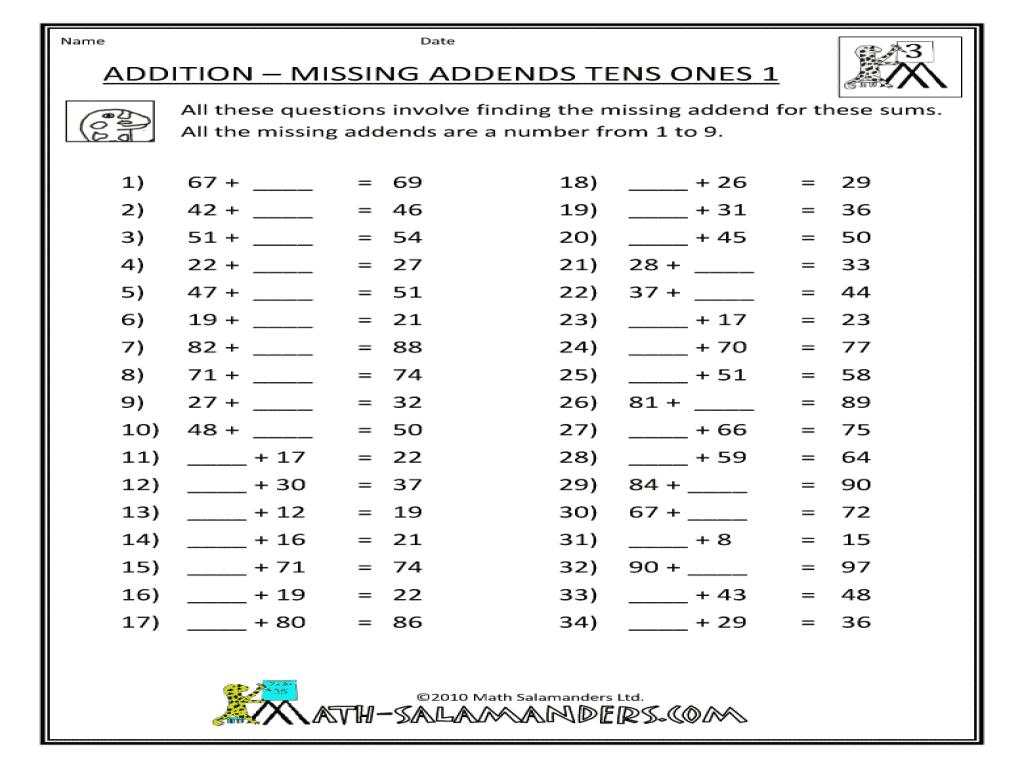 Worksheets Missing Addend Worksheets find the missing addend worksheet free worksheets library printable worksheetfun