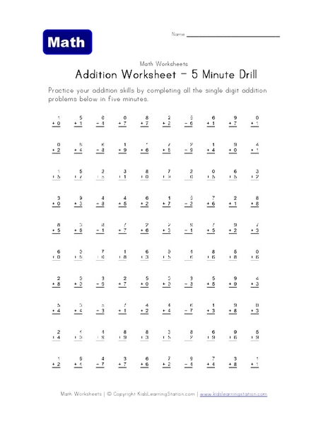 math worksheet : single digit addition worksheets math aids  educational math  : Math Drills Addition Worksheets