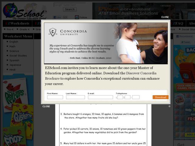 Addition Worksheet EZschool.com 2nd - 3rd Grade Worksheet   Lesson ...