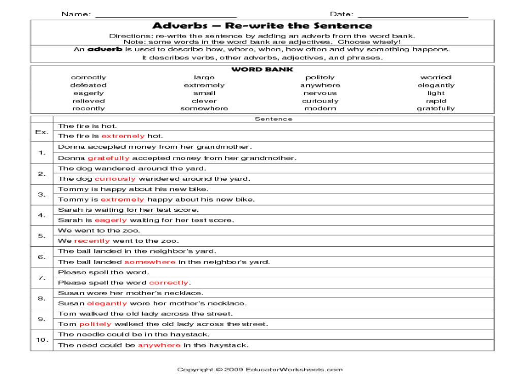 Adverb worksheets 6th grade free