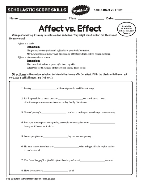 Collection Affect Vs Effect Worksheet Photos - Studioxcess