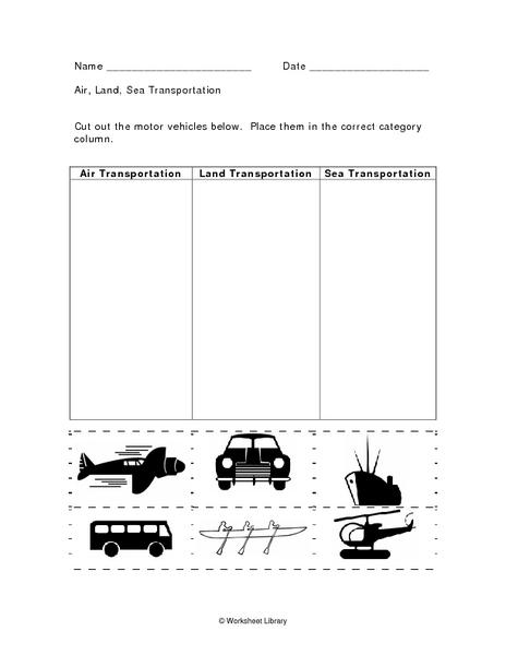 Air, Land, Sea Transportation 1st - 3rd Grade Worksheet | Lesson ...