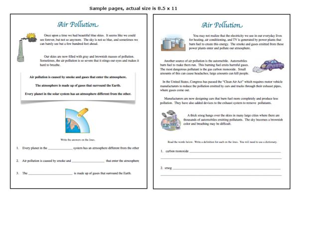 Air Pollution 4th - 8th Grade Worksheet | Lesson Planet