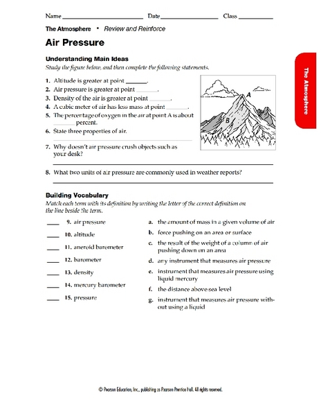 Atmospheric Pressure Worksheet - Gamersn