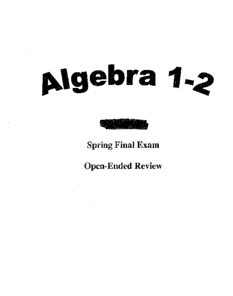 Algebra 1 Review For Spring Semester Exam Answer Key