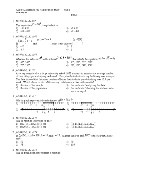 Worksheet Algebra 2 Trig Worksheets algebra 2 with trigonometry practice exam 1 answer key trig regents review test answers 2