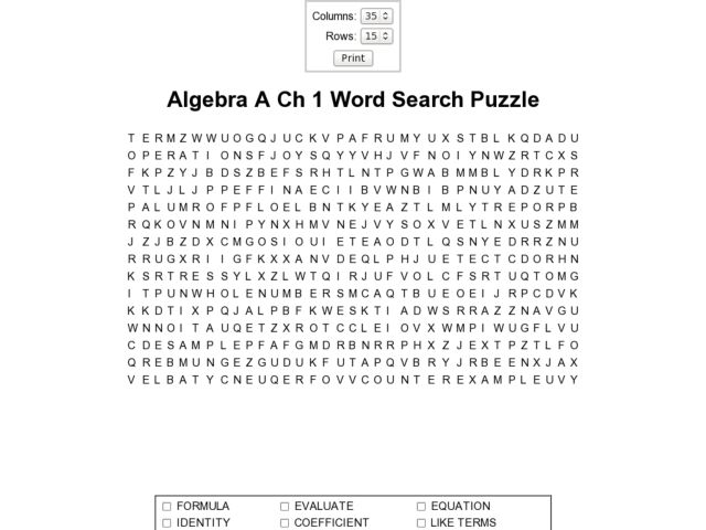 Printables Algebra Puzzle Worksheets algebra a ch1 word search puzzle 6th 7th grade worksheet lesson planet