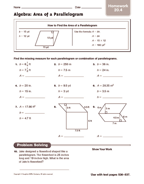 Area of triangles and parallelograms worksheets free
