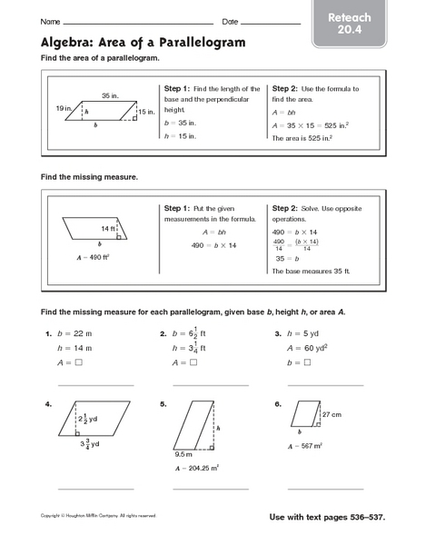 Printables Area Of Parallelogram Worksheet finding area parallelogram worksheets intrepidpath algebra of a reteach 20 4 6th 8th grade worksheets