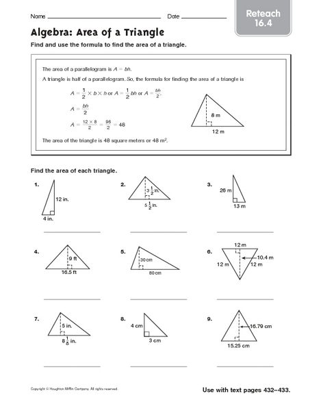 Right Triangle Area Worksheet Right Triangle Area