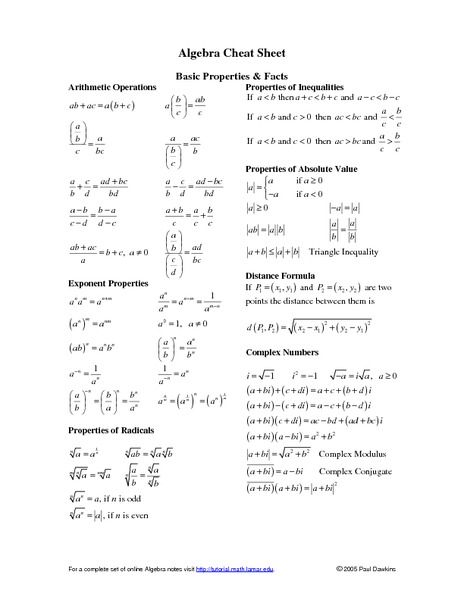 High School Math Handouts Collection | Lesson Planet