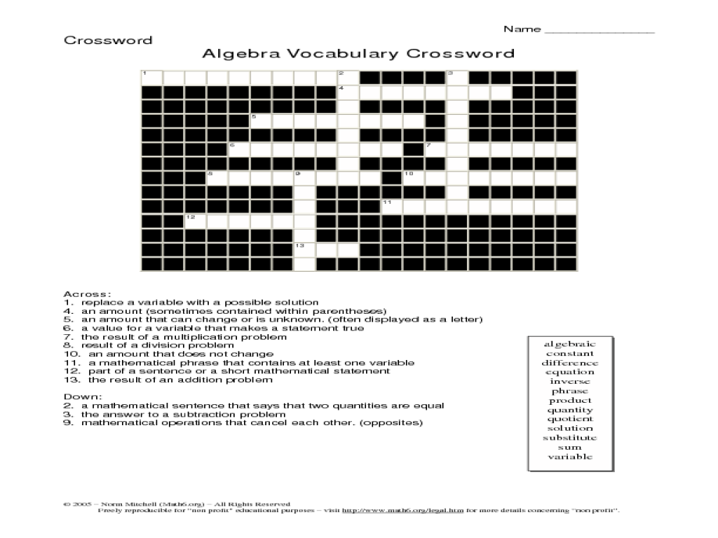 Printables Algebra Vocabulary Worksheet algebra vocabulary crossword 5th 6th grade worksheet lesson planet