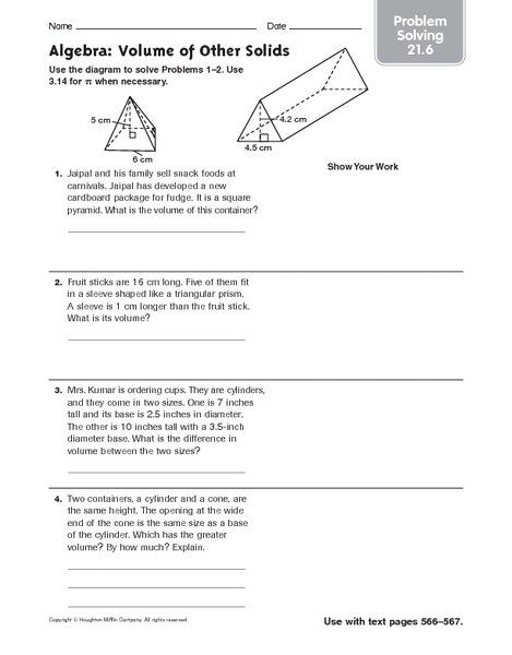 6th Grade Problem Solving Worksheets : Free math worksheets volume triangular prisms difference