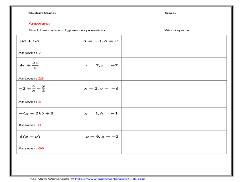Algebraic Expression - Two Variables - Integers 7th - 9th Grade ...