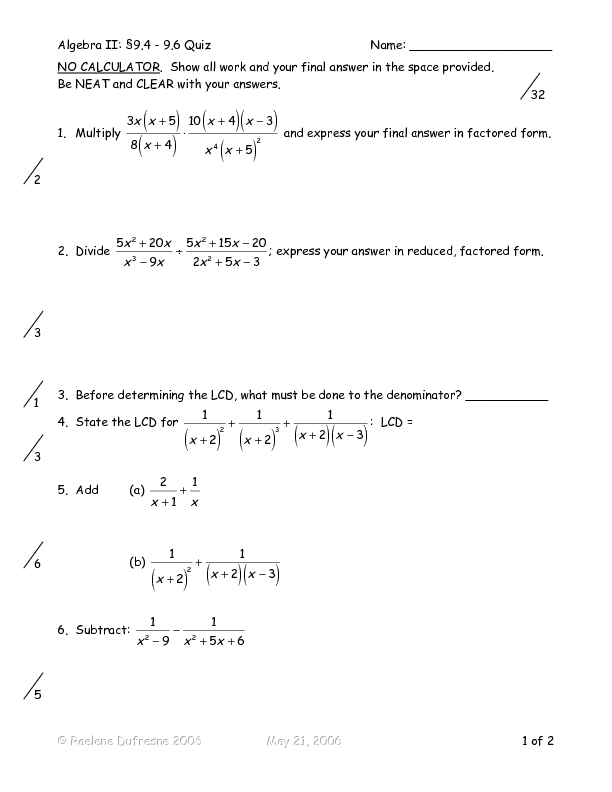 Addition And Subtraction Of Algebraic Fractions Worksheet  Adding