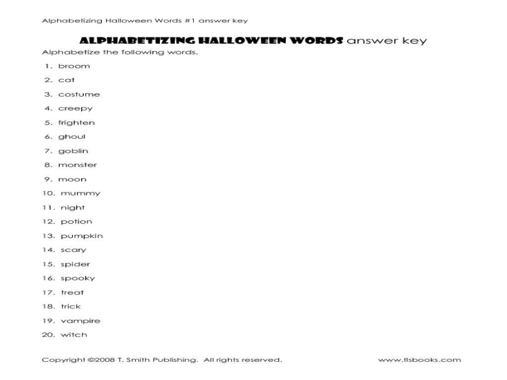 Alphabetize Halloween Words 2 2nd 4th Grade Worksheet – Alphabetizing Worksheets
