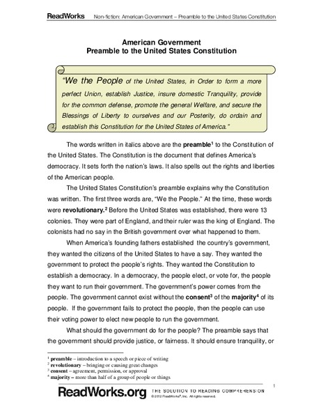 Printables Preamble To The Constitution Worksheet american government preamble to the united states constitution 4th grade worksheet lesson planet