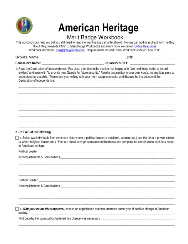 Printables Boy Scout Merit Badge Worksheets boy scouts america first aid merit badge worksheet intrepidpath scout worksheets citizenship world the best and
