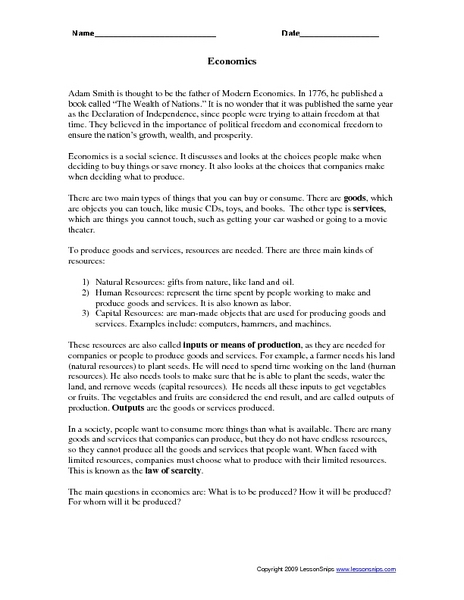 2nd Grade » 2nd Grade Economics Worksheets - Printable Worksheets ...