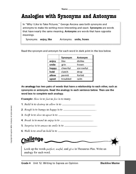 Analogies worksheet for middle school