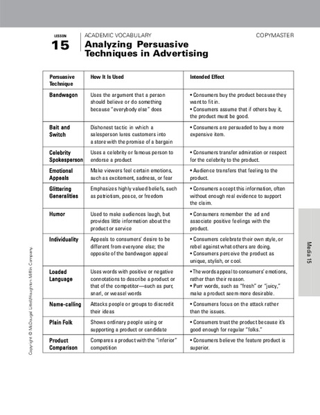 Printables Persuasive Techniques Worksheets persuasive techniques worksheets versaldobip analyzing in advertising 9th 12th grade