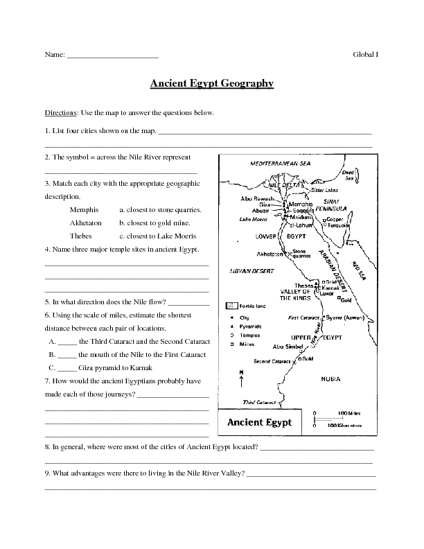 Worksheets Geography Worksheets For 6th Grade ancient egypt geography 6th 8th grade worksheet lesson planet