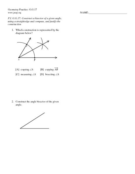 Bisectors of Angles Worksheets Angle Bisector 10th Grade